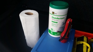 Our first aid items are in the plastic bin, and we always carry wipes, paper towels, and a working flashlight.